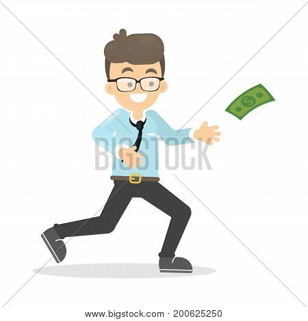 Business man catches flying money banknote on white background. Smiling man in suit.