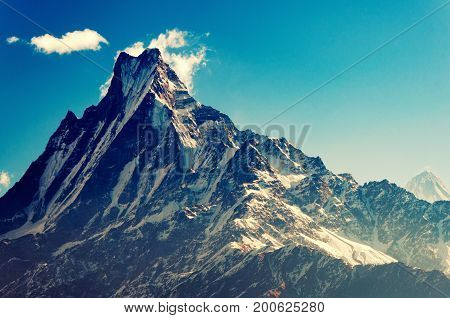 Close Up View Of Fish Tail Mountain Also Known As Machapuchare In The Annapurna Himalayas Of North C