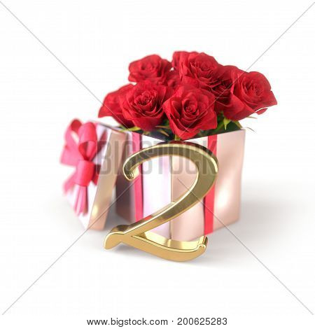 birthday concept with red roses in gift isolated on white background. 3D render - second birthday. 2nd