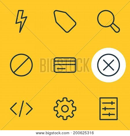 Editable Pack Of Label, Locked, Magnifier And Other Elements.  Vector Illustration Of 9 App Icons.