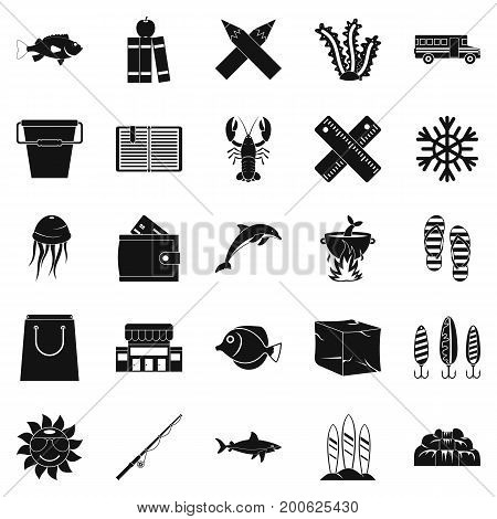 Fish food icons set. Simple set of 25 fish food vector icons for web isolated on white background