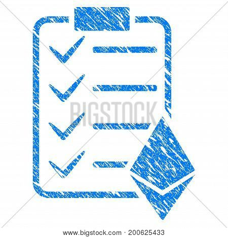 Grunge Ethereum Smart Contract rubber seal stamp watermark. Icon symbol with grunge design and scratched texture. Unclean vector blue sticker.