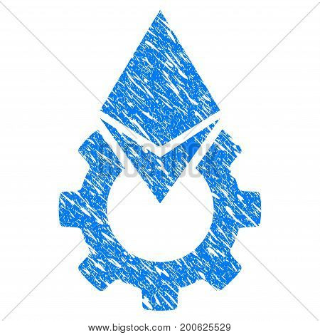 Grunge Ethereum Tools Gear rubber seal stamp watermark. Icon symbol with grunge design and scratched texture. Unclean vector blue sticker.