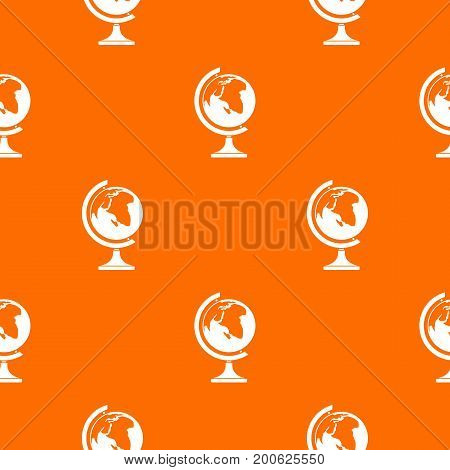 Globe pattern repeat seamless in orange color for any design. Vector geometric illustration