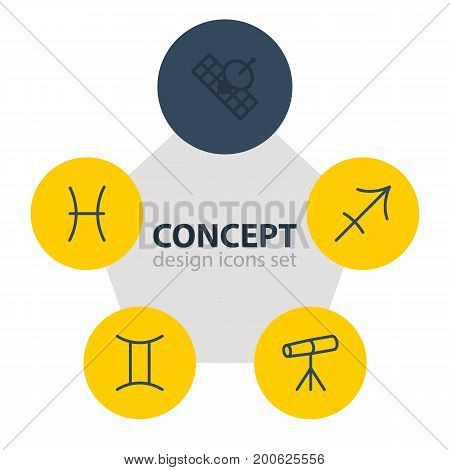 Editable Pack Of Archer, Satellite, Twins And Other Elements.  Vector Illustration Of 5 Astrology Icons.