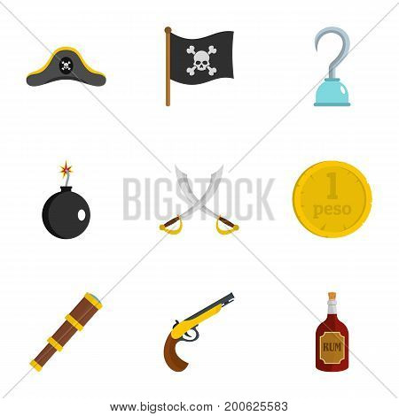 Pirates element icon set. Flat set of 9 pirates element vector icons for web isolated on white background