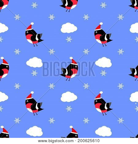 Bullfinch seamless pattern vector cap, cloud , flying, paper, decor, xmas, feather