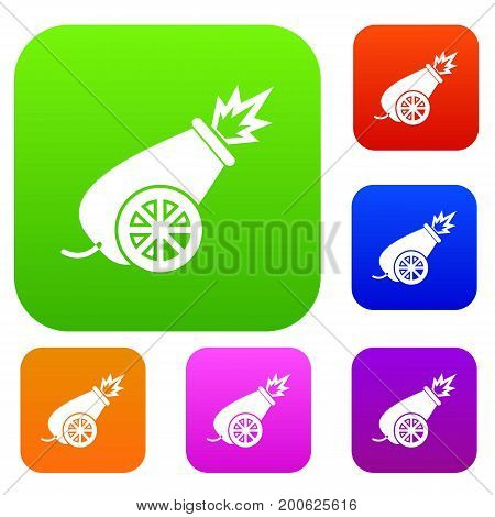 Circus cannon set icon in different colors isolated vector illustration. Premium collection