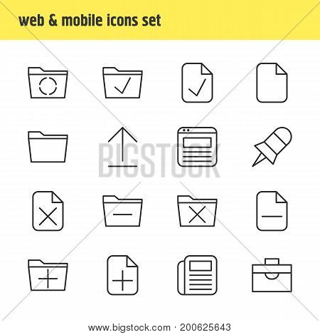 Editable Pack Of Install, Loading, Approve And Other Elements.  Vector Illustration Of 16 Bureau Icons.