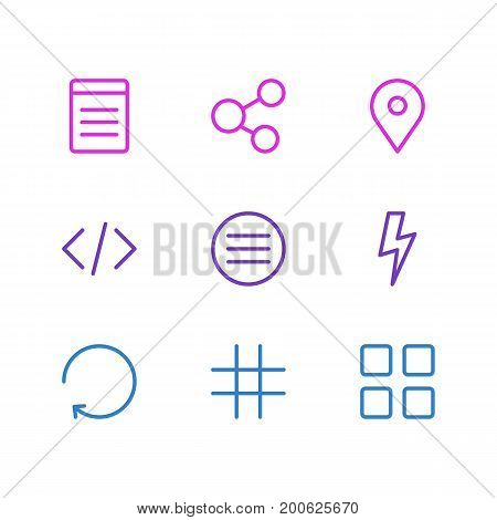 Editable Pack Of Script, Flash, Pinpoint And Other Elements.  Vector Illustration Of 9 Application Icons.