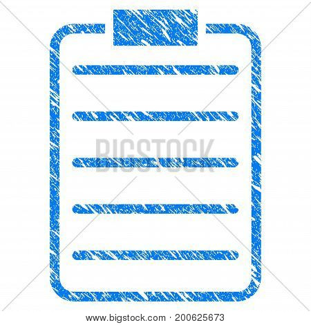 Grunge List Page rubber seal stamp watermark. Icon symbol with grunge design and scratched texture. Unclean vector blue emblem.