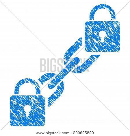 Grunge Lock Blockchain rubber seal stamp watermark. Icon symbol with grunge design and unclean texture. Unclean vector blue sticker.