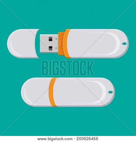 USB PC flash drive isolated on white. Memory computer device. Solid state drive in flat style. Storage stick for usb port vector illustration