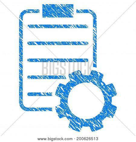 Grunge Smart Contract Gear rubber seal stamp watermark. Icon symbol with grunge design and dirty texture. Unclean vector blue emblem.