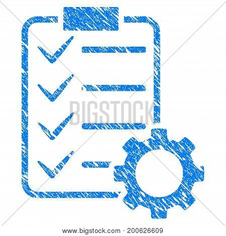 Grunge Smart Contract Gear rubber seal stamp watermark. Icon symbol with grunge design and scratched texture. Unclean vector blue emblem.