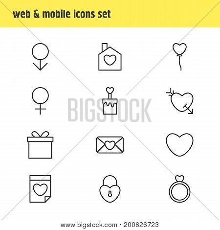 Editable Pack Of Decoration, Home , Candle Elements.  Vector Illustration Of 12 Amour Icons.