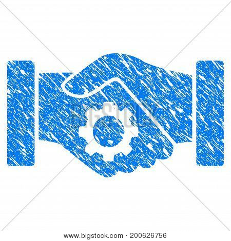 Grunge Smart Contract Handshake rubber seal stamp watermark. Icon symbol with grunge design and unclean texture. Unclean vector blue emblem.