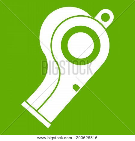 Sport whistle icon white isolated on green background. Vector illustration