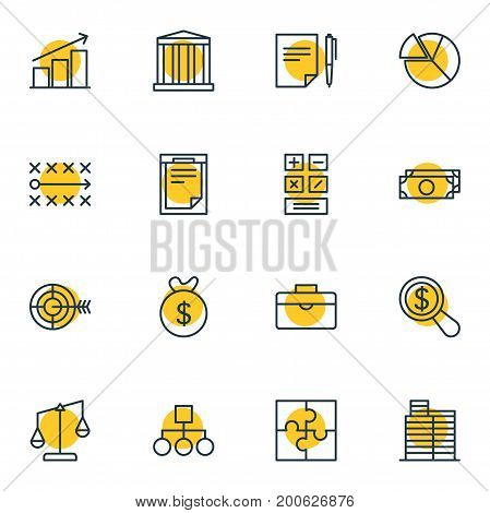Editable Pack Of Scheme, Building, Cash And Other Elements.  Vector Illustration Of 16 Business Icons.
