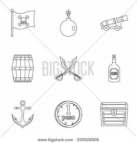 Pirates treasure icon set. Outline set of 9 pirates treasure vector icons for web isolated on white background