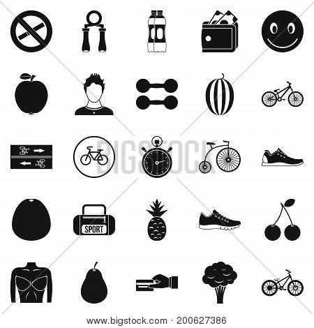Bicycle tour icons set. Simple set of 25 bicycle tour vector icons for web isolated on white background