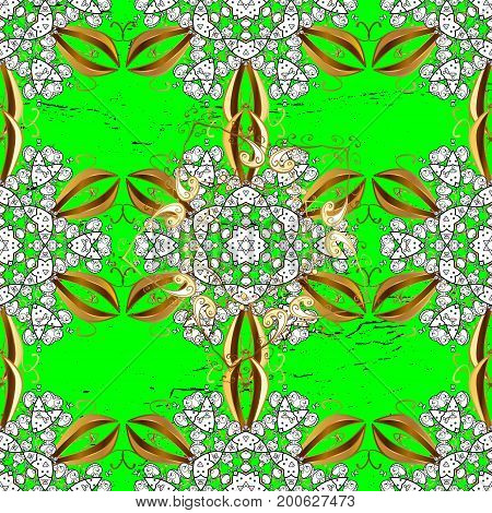 White pattern. Green and white background with elements. Vector white floral ornament brocade textile pattern. Floral pattern.