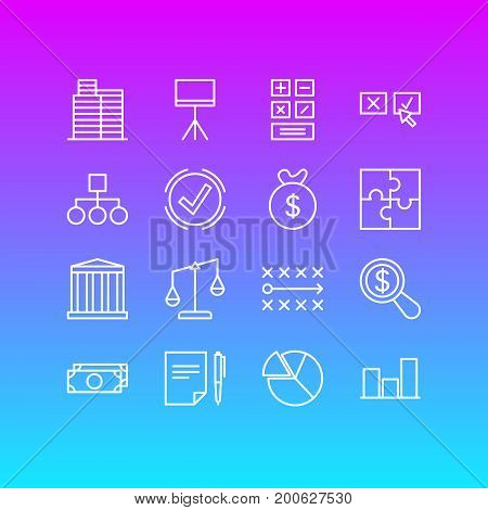 Editable Pack Of House, Calculate, Balance And Other Elements.  Vector Illustration Of 16 Trade Icons.