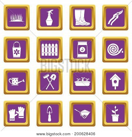 Gardening icons set in purple color isolated vector illustration for web and any design