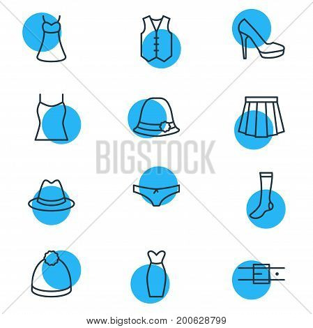 Editable Pack Of Strap, Sarafan, Panties And Other Elements.  Vector Illustration Of 12 Garment Icons.