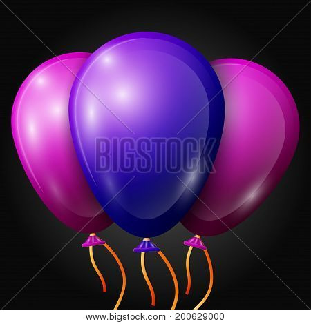 Realistic blue, purple balloons with ribbons isolated on black background. Vector illustration of shiny colorful glossy balloons