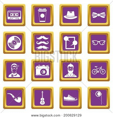 Hipster icons set in purple color isolated vector illustration for web and any design