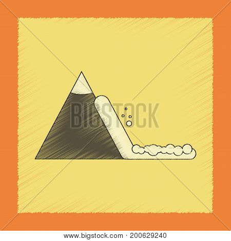 flat shading style icon of snow avalanche
