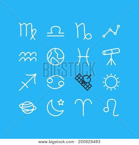 Editable Pack Of Ram, Archer, Fishes And Other Elements.  Vector Illustration Of 16 Astrology Icons.