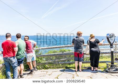 Cape Elizabeth, Usa - June 10, 2017: People Looking At View In Fort Williams Park In Maine During Su