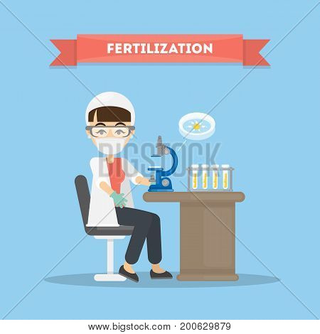 Fertilization in laboratory. Female scientist with microscope and tubes.