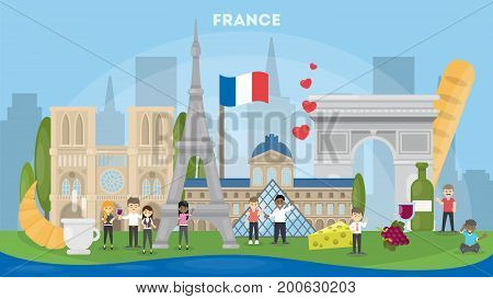 Discover France concept. All famous landmarks and cultural items of France as coffee, vine and Tour Eiffel.