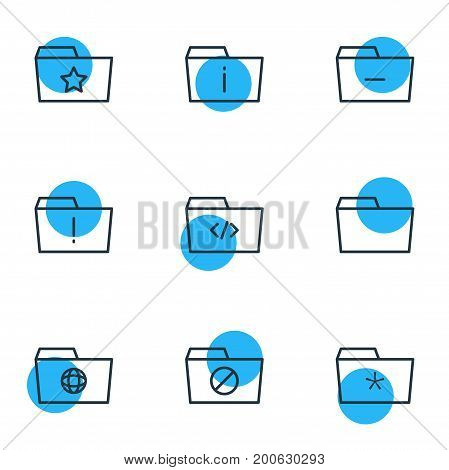 Editable Pack Of Significant, Information, Locked And Other Elements.  Vector Illustration Of 9 Dossier Icons.