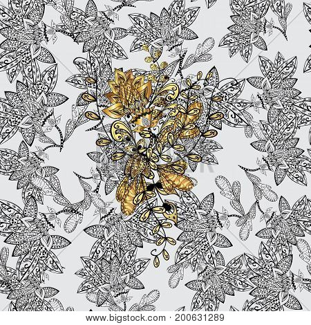 Gold metal with floral pattern. Seamless golden pattern. Vector golden floral ornament brocade textile and glass pattern. Background with golden elements.