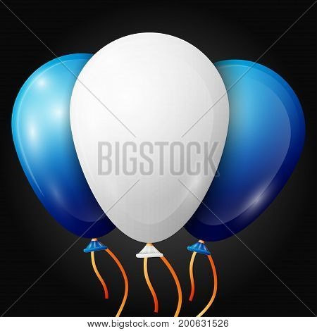 Realistic white, blue balloons with ribbons isolated on black background. Vector illustration of shiny colorful glossy balloons
