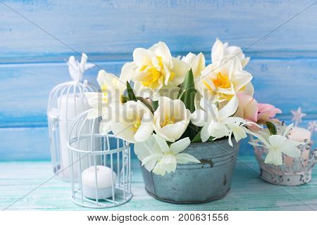 White daffodils and tulips flowers in bucket and candles in decorative candleholders on turquoise painted wooden planks against blue wall. Selective focus.