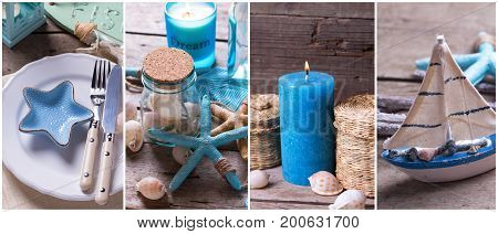 Summer time site header. Collage from photos with ocean or coastal living decorations. Decorative wooden boat star fish bottle with ocean treasures blue candle and place setting on aged wooden background.