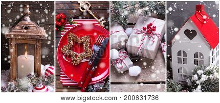 Collage from Christmas photos. Decorative lantern place setting lantern with candle box with presents berries and branches fur tree on aged wooden background. Holiday site header.