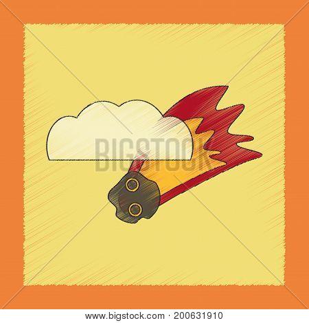 flat shading style icon of falling meteorite