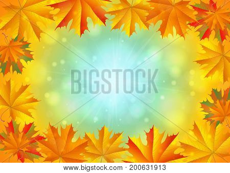 Illustration of frame from colorful autumn maple leaves with sunny sky background