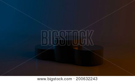 Abstract background with podium winners. Dark theme with orange and blue. 3D rendering