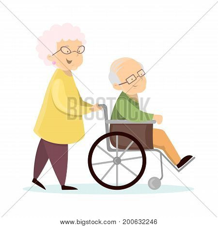 Old senior couple. Wife with husband on wheelchair.