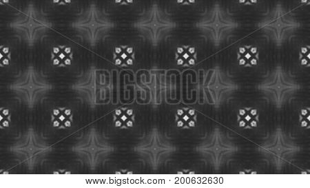 Abstract black and white blurred background with digital kaleidoscope. 3d rendered
