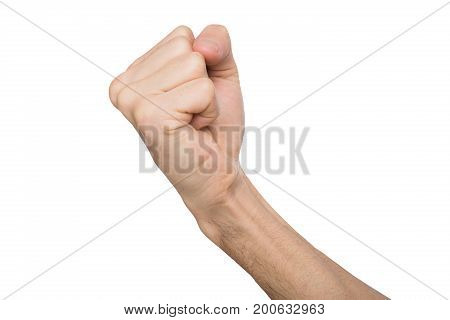 Fight hand gesture. Man clenched fist, ready to punch, isolated on white, close-up, copy space