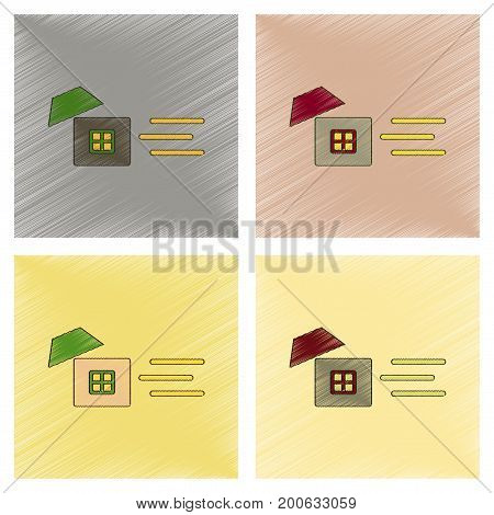 assembly flat shading style icon of wind destroys house