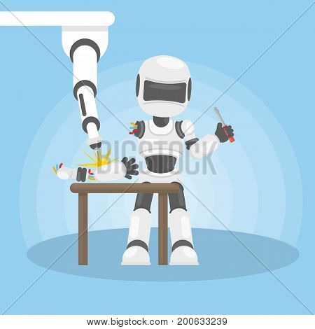 Robot repairs itself. New technology and artificial intelligence.